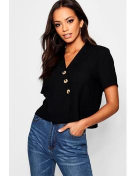 Horn Button Crop Shirt by Boohoo