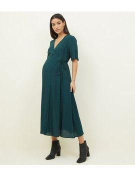 Maternity Dark Green Floral Midi Wrap Dress by New Look