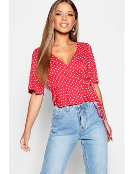 Petite Polka Dot Wrap Frill Sleeve Blouse by Boohoo