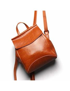 Vintage Genuine Leather Backpack Casual Rucksack Convertible Shoulder Bag For Women And Girls by Luufan