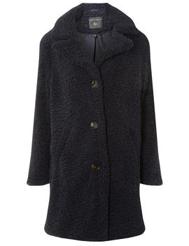 Navy Button Front Teddy Coat by Dorothy Perkins