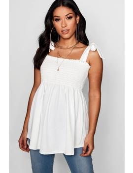 Maternity Sheered Tie Sleeve Cami Top by Boohoo