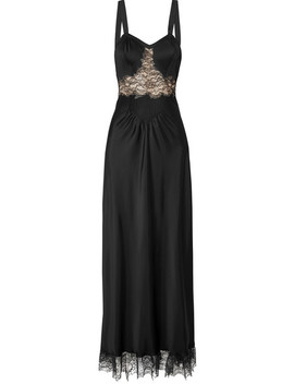 Lace Paneled Satin Maxi Dress by Paco Rabanne