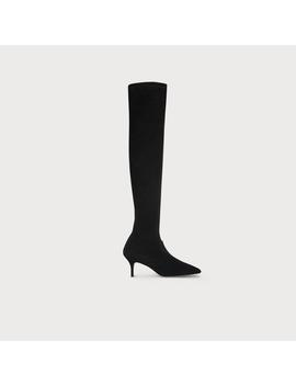 Lillie Black Stretch Suede Knee Boots by L.K.Bennett
