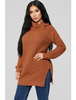 Come Undone Sweater   Rust by Fashion Nova