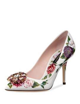 Jeweled Floral Print Patent Pumps by Dolce & Gabbana