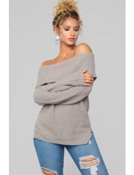 Jane Off Shoulder Sweater   Grey by Fashion Nova