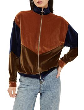 Velour Panel Zip Sweatshirt by Topshop