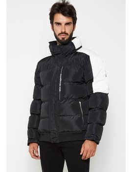 Colour Block Puffer Jacket   Black by Maniere De Voir