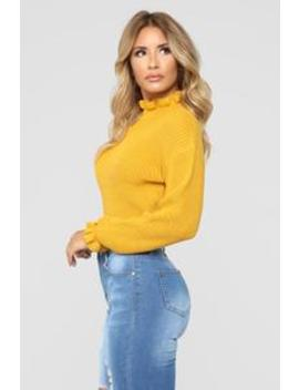 All To Myself Cropped Sweater   Mustard by Fashion Nova