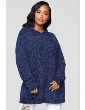 His Cuddle Buddy Sweater   Navy by Fashion Nova