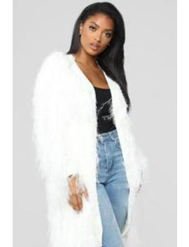 Luxe Love Fuzzy Duster   Ivory by Fashion Nova