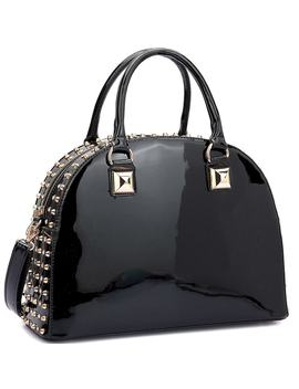 Dasein Patent Rhinestone Studded Dome Zip Around Flat Bottom Fashion Handbag by Dasein