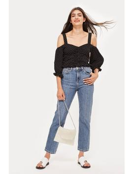 Petite Mid Blue Straight Leg Jeans by Topshop