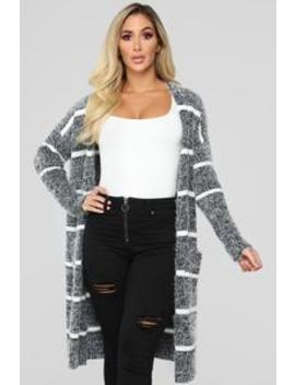Warm Enough Cardigan   Charcoal by Fashion Nova