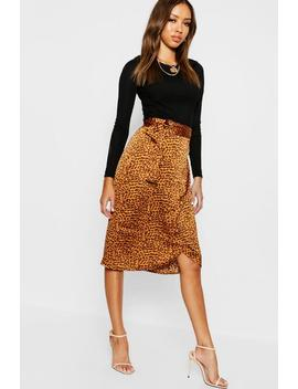 Leopard Satin Wrap Midi Skirt by Boohoo