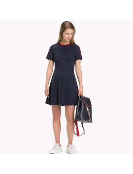 Contrast Piping Short Sleeve Skater Dress by Tommy Hilfiger