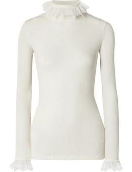 Lace Trimmed Ribbed Wool Blend Sweater by Philosophy Di Lorenzo Serafini