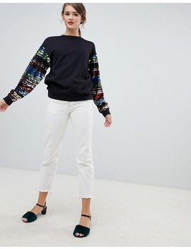 Asos Design Sweat With Rainbow Sequin Sleeves by Asos Design