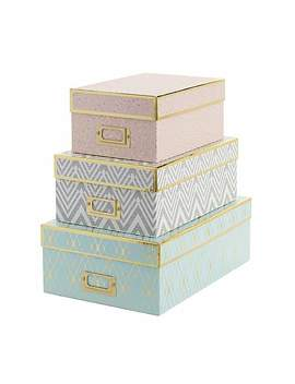 Set Of 3 Stockholm Boxes by Dunelm