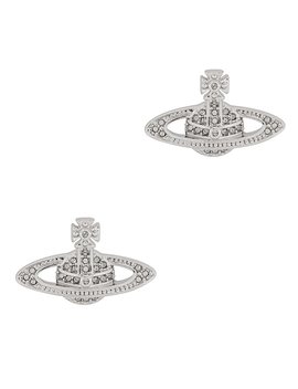 Mini Bas Relief Silver Tone Earrings by Vivienne Westwood