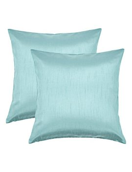 Aiking Home 18x18 Inches Faux Silk Square Throw Pillow Cover, Zipper Closure, Aqua (Set Of 2) by Aiking Home Collection