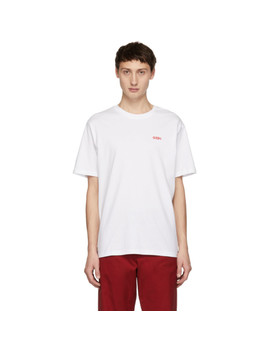 White Embroidered Classic T Shirt by 032 C