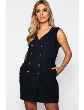 Plus Horn Button Pinafore Dress by Boohoo