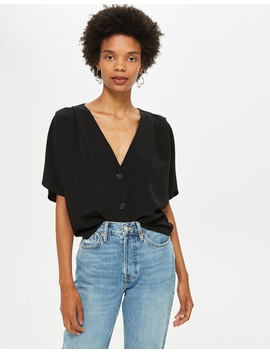 Pleat Sleeve Top by Topshop