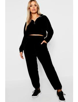 Plus Velour Jogger by Boohoo