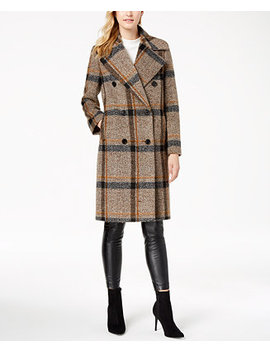 Double Breasted Plaid Walker Coat by Kendall + Kylie