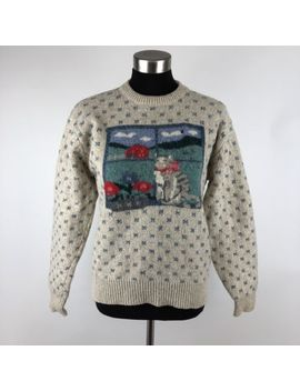 Eddie Bauer Vintage Wool Cat Sweater Womens Medium by Eddie Bauer