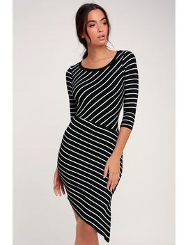 Stripe It Rich Black Striped Asymmetrical Bodycon Dress by Lulus