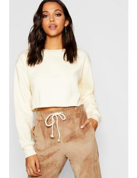 Crew Neck Cropped Sweat by Boohoo