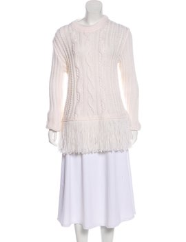 Cable Knit Fringe Accented Sweater W/ Tags by Tory Burch