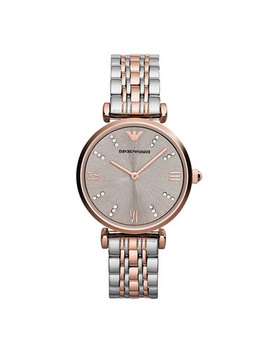Emporio Armani Rose Gold Tone And Stainless Steel Ladies Watch by Beaverbrooks