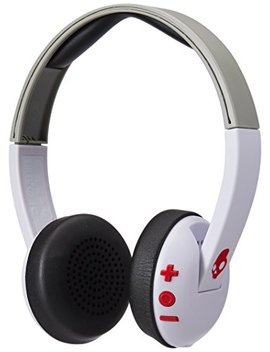 Skullcandy Uproar Bluetooth Wireless On Ear Headphones With Built In Microphone And Remote, 10 Hour Rechargeable Battery, Soft Synthetic Leather Ear Pillows For Comfort, White/Gray/Red by Skullcandy