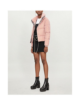 Karl Lagerfeld X Kaia Logo Tape Velvet Down Jacket by Karl Largerfeld