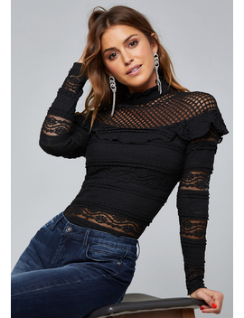 Mixed Lace Top by Bebe