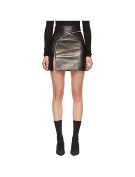 Black Leather Curved Zipper Miniskirt by Alexander Wang