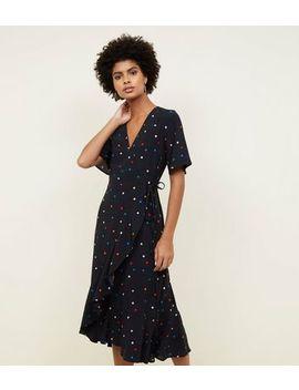 Black Multicoloured Spot Print Frill Hem Wrap Dress by New Look