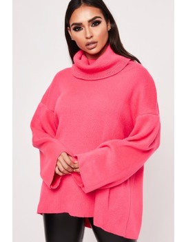 Bianca Fuchsia Turtle Neck Oversized Jumper by Misspap
