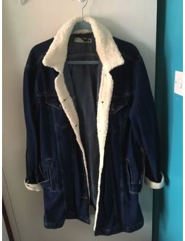 Rare Size 16 Denim Blue Shearing Topshop New Belted Boyfriend Long Jacket Autumn by Ebay Seller
