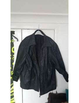 Black Unisex Faux Leather Jacket Oversized Large Ted Taylor by Ebay Seller