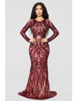 Unforgettable Romance Sequin Dress   Burgundy by Fashion Nova