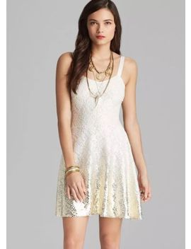 Free People Ombre Foil Lace Fit And Flare New Years Metallic Dress White Small by Free People