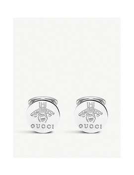 Trademark Sterling Silver Cufflink Earrings by Gucci