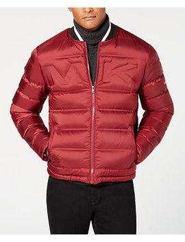 Men's Quilted Embossed Logo Bomber Jacket by Michael Kors