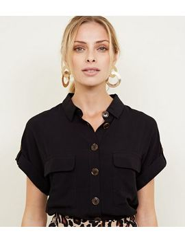 Black Patch Pocket Short Sleeve Shirt by New Look