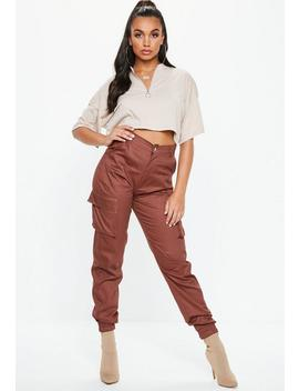 Brown Plain Cargo Trousers by Missguided